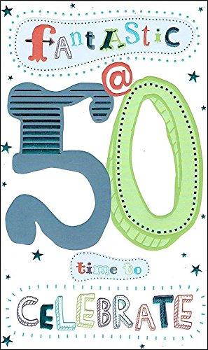 Dorado 50 años macho tarjeta de cumpleaños Corona y ...