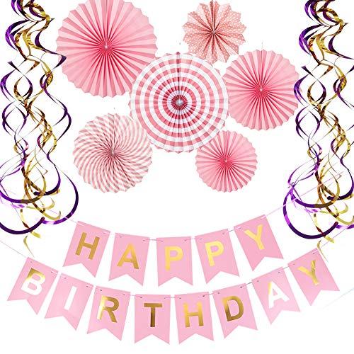 (Happy Birthday Banner Paper Fan Flower Set Metalic Swirls for Birthday Party Decorations)