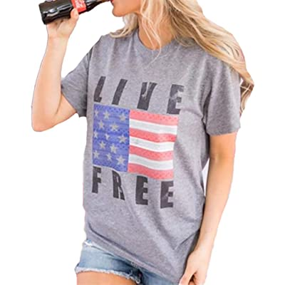 MAOGUYUN Woman Live Free Letter Print Tank Tops Short Sleeve T-Shirt American Flag Print Vest Top at Women's Clothing store