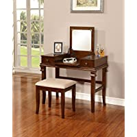 Angela Two Piece Vanity Set in Rich Walnut Finish