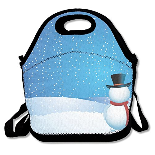 Cute Winter Snowman Portable Lunch Box Bag Insulated Waterproof School Storage Handbag For Women, Adults, - Strap Monogrammed Sunglass