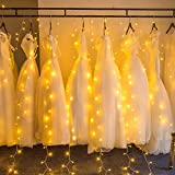Curtain String Lights, Marchpower Advanced 300 LED Window Curtain String Light with 8 Flash Modes for Wedding Party Home Garden Bedroom Outdoor Indoor Wall Decorations (Warm White)