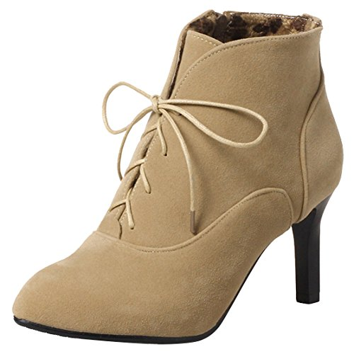 Lace Apricot Stiletto Ladies High Shoes Boots up Boots Toe Pointed Heel Zip AIYOUMEI Ankle TtOdnqqa