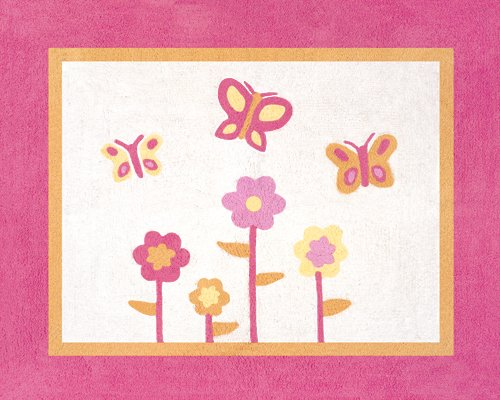 Pink and Orange Butterfly Accent Floor Rug by Sweet Jojo Des