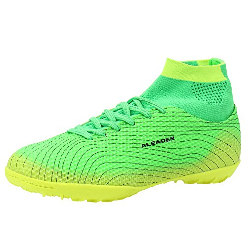 ALEADER Boy's Athletic Turf Indoor Soccer Shoes Football Boots Green 4.5 M US Big Kid (Indoor Soccer Shoes For Youth)