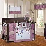 BabyFad Owl Pink 10 Piece Baby Crib Bedding Set
