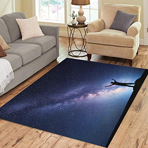 (Semtomn Area Rug 2' X 3' Landscape Colorful Milky Way Night Sky Stars and Silhouette Home Decor Collection Floor Rugs Carpet for Living Room Bedroom Dining Room)