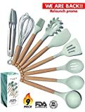 Kitchen Utensil Set - NEW 9 Piece Cooking Utensils - Non-stick Silicone and Wooden Utensils. BPA Free, Non Toxic Turner Tongs Spatula Spoon Set. Best Chef Kitchen Tool Set Housewarming Gifts - ÉLEVER
