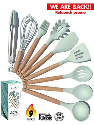 Kitchen Utensil Set - NEW 9 Piece Cooking Utensils - Non-stick Silicone and Wooden Utensils. BPA Free, Non Toxic Turner Tongs Spatula Spoon Set. Best Chef Kitchen Tool Set Housewarming Gifts - ÉLEVER by Elever