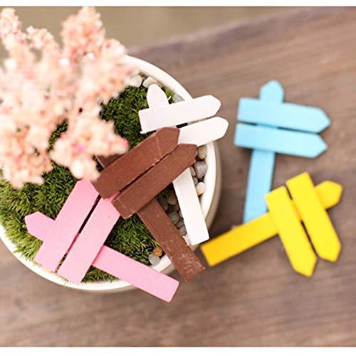 ZAMTAC 30pcs/lot Wood Crafts Signpost Mini World Landscape Decorations Micro Fairy Garden Miniature DIY Accesories Figurines Model - (Color: 30pcs)