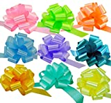 """Arts & Crafts : Easter Gift Basket Pull Bows - 5"""" Wide, Set of 9, Pink, Green, Blue, Lavender, Yellow, Pastel Colors, Decor for Christmas Presents"""