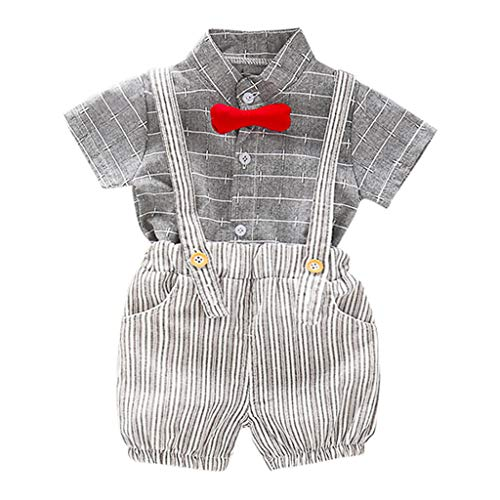 Sayolala Baby Boys Outfits Clothes Kids Short Sleeve Striped Bow Tie T-Shirt Tops and Shorts Gentleman Set, 6 Months-3 Years Gray ()