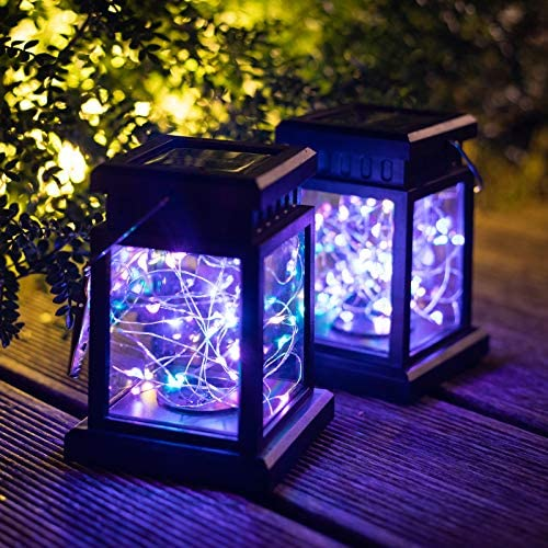 Solar Lights Outdoor Lantern Decorative – Solar Lanterns Outdoor Hanging with 30 Led, 2 Pack Solar Fairy Lights for Patio, Garden,Yard,Christmas,Party. Multicolor