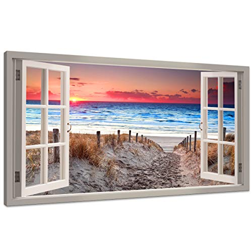 Canvas Wall Art Window View Sand footprints Canvas Print Paintings for Wall Decor Seascape Giclee Landscape Pictures Paintings on Modern Stretched and Framed Sea Beach Pictures Artwork ( 24x48inch)