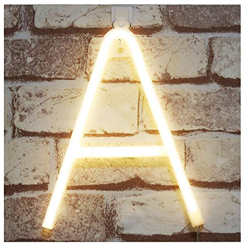 Pooqla Neon Letter Sign Night Lights LED Alphabet Neon Art Lights Wall Decor Light up Words for Wedding Birthday Party Christmas Home Bar Decoration A