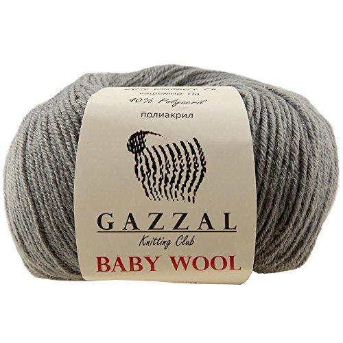 Gazzal 5 Pack Baby Wool 1.76 Oz (50g) / 218 Yards (200m) Fine Baby Yarn, 40% Lana Merino, 20% Cashmere Type Polyamide; (Grey - 818)