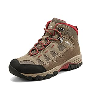 Clorts Women's Suede Leather GTX Waterproof Hiking Boot Outdoor Backpacking Shoe Khaki HKM-823B US6.5
