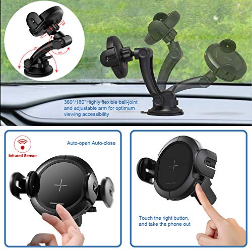 KOAKUMA Wireless Car Charger Mount, Automatic Clamping Car Mount Air Vent Phone Holder with 15W QI Fast Charging Compatible with iPhone X/XS Max/XS/XR/8/8 Plus, Samsung Galaxy S10/S10+/S9/S9+/Note 9/8 by KOAKUMA (Image #2)