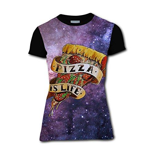 YAsedd Womens Pizza is Life T Shirts/Tee Shirt 3D Print