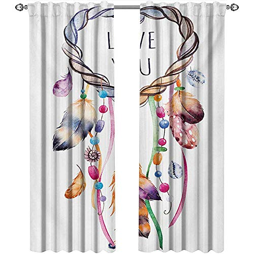shenglv Feather, Window Treatments Curtains Valance, Hand Drawn Dream Catcher Illustration Ethnic Bohemian Style Image Vibrant Colored, Curtains for Girls Bedroom, W72 x L108 Inch, Multicolor