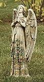 Praying Angel with Ornate Rose Design Dress 24 inch Stoneware Garden Statue
