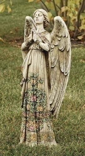 (Praying Angel with Ornate Rose Design Dress 24 inch Stoneware Garden Statue)