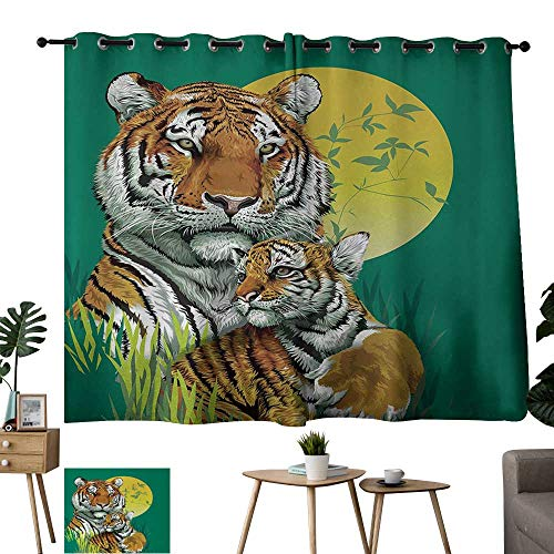 Grommet Customized Curtains Safari Tiger Family in Jungle Full Moon Light Night Grass Jade Green Apricot Light Green Outdoor Patio Curtains W63 xL45 (Green Grass Pinnacle)