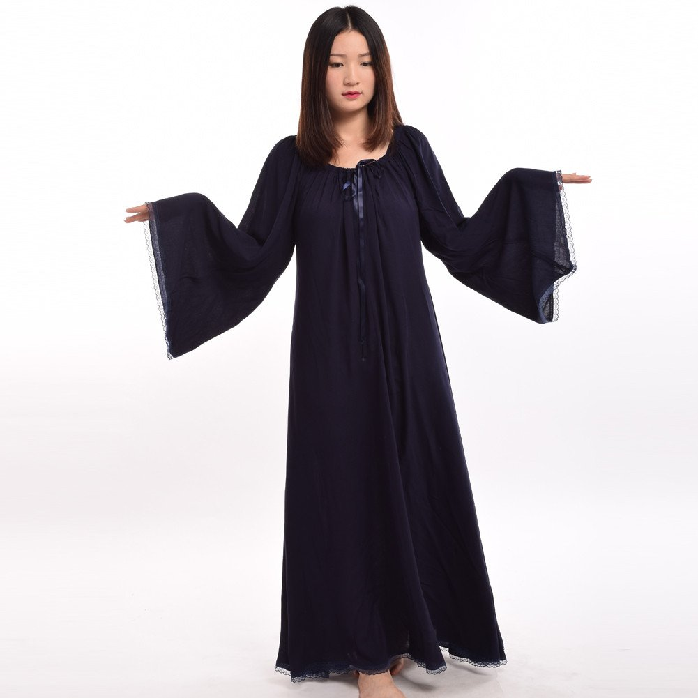 Medieval Women's Dark Blue Lace Trimmed Bell Sleeve Chemise - DeluxeAdultCostumes.com