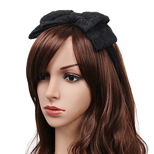 80 Themed Halloween Costume Ideas (80's Women Girls Lace Headband with Satin Bow Hair Scarf Headpiece 80s Themed Party Costume Cosplay Headwear Accessory (Black))