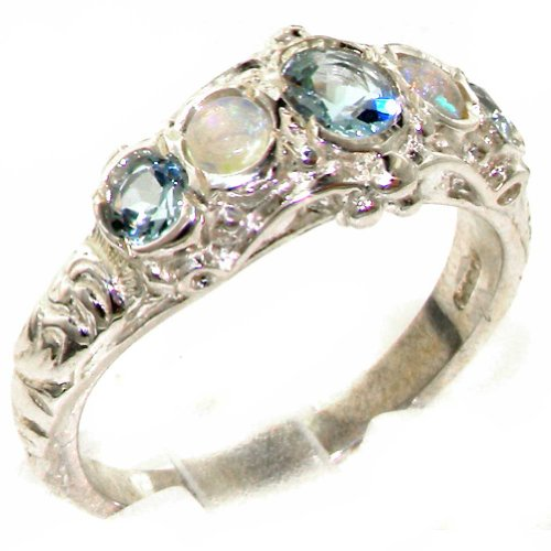 Natural Aquamarine and Opal Womens Band Ring - Sizes 4 to 12 Available ()