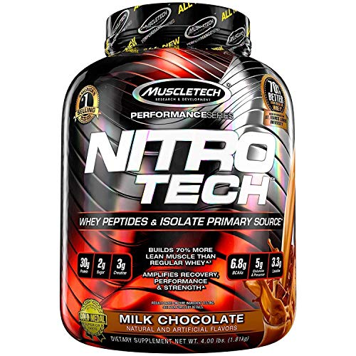 MuscleTech NitroTech Protein Powder, 100% Whey Protein with Whey Isolate, Milk Chocolate, 4 (Lean Mass Complex Protein)