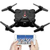 Cheap Leoie RC Quadcopter Drone with FPV Camera Live Video Foldable Aerofoils, Smart Phone and App Control UAV Predator, RTF Helicopter with 4 Channels, 6-Axis Gyro, Gravity Sensor with 1pcs Batteries Black