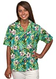 Benny's Womens Floral Hibiscus and Palm Leaves Hawaiian Shirt
