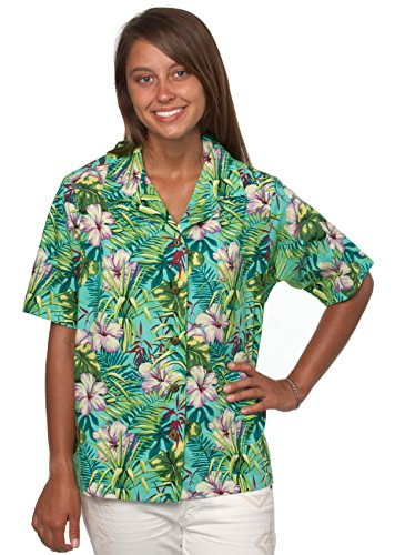 Bennys Womens Floral Hibiscus and Palm Leaves Hawaiian Shirt