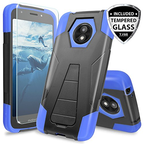 TJS Motorola Moto E5 Play / E5 Cruise/E Play 5th Gen Case, with [Tempered Glass Screen Protector] Dual Layer Hybrid Shock Absorbing Phone Case Cover Kickstand Silicone Inner Layer (Blue/Black)