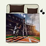 smallbeefly Teen Room couch blanket Professional Baseball Players in the Stadium Playing the Game Pich Sports PrintPattern Multicolor