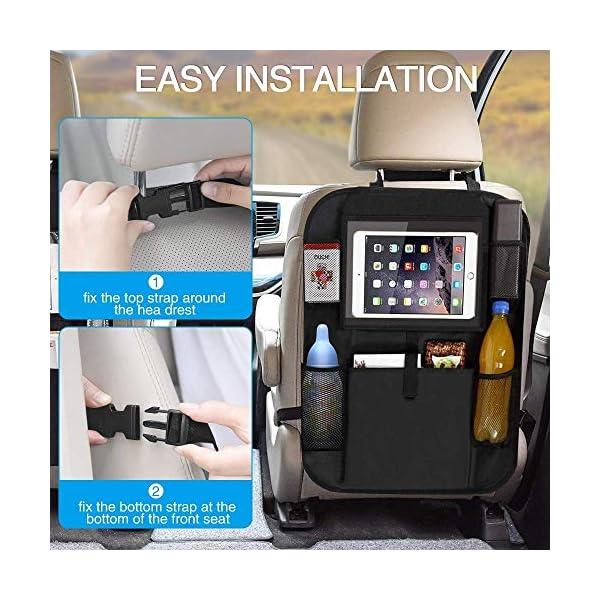 51JdzBqfPOL Auto Rückenlehnenschutz, opamoo 2 Stück Auto Rücksitz Organizer für Kinder, Große Taschen und iPad-/Tablet-Fach…