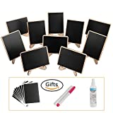: officematters Wood Mini Blackboard with Support Easel for Message Board Signs Parties, Rectangle, Set of 10