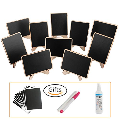 Craft Show Display - officematters Wood Mini Blackboard with Support Easel for Message Board Signs Parties, Rectangle, Set of 10
