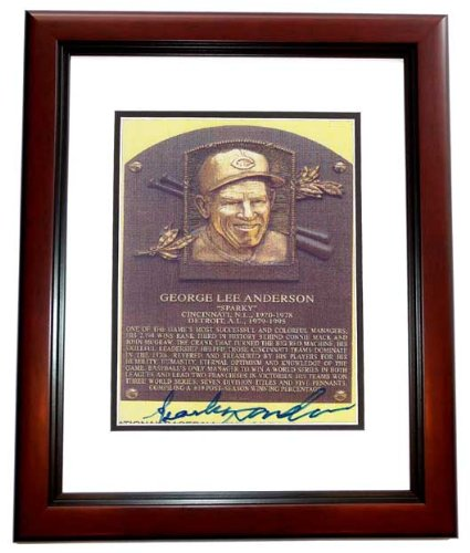 Sparky Anderson Signed - Autographed Detroit Tigers 4x6 Photo MAHOGANY CUSTOM FRAME - Deceased Hall of Famer - 3x World Series Champion