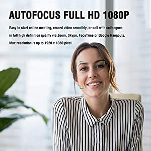Autofocus 1080P Webcam with Privacy Cover, AUSDOM AF640 Full HD Business Web Camera with Dual Noise Reduction…