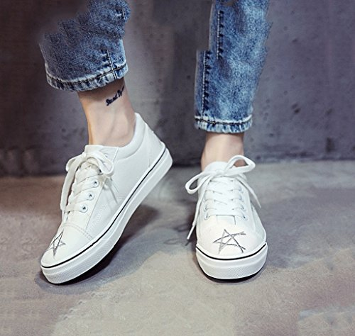 Banded Segeltuchschuhe Die Schuhe der Frauen breathable Art und Weise flache Schuhe beiläufige Brettschuhdamen sports Schuhe ( Farbe : Schwarz , größe : 38 ) Weiß