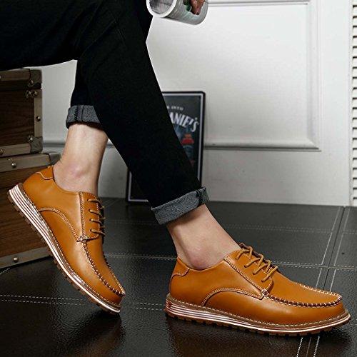 ZXCV Zapatos al aire libre Zapatos de hombre zapatos de los hombres del ocio de la tendencia planos con la cabeza redonda Marrón claro
