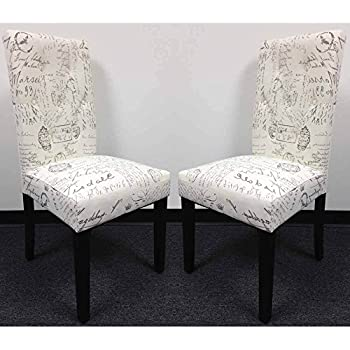 Set of 2 Dining Side Chair Upholstery French Script Micro Suede Print High Back