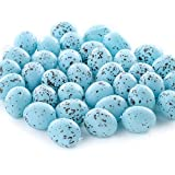 Factory Direct Craft Package of 36 Tiny Blue Speckled Plastic Artificial Bird Eggs for Crafting Use, Embellishing Favors, and Designing