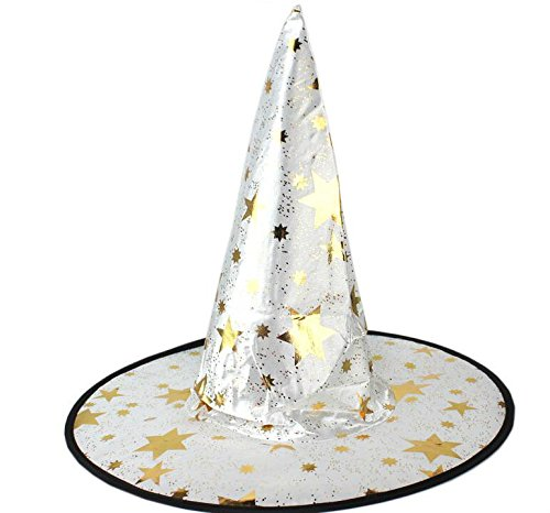 Showking Creative Party Hat Halloween Fancy Decoration Five Points Star Witch or Sorceress Hat_White