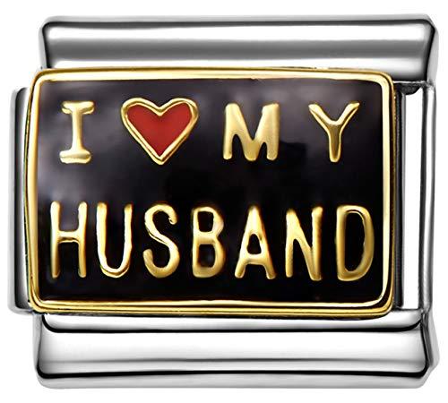 (Stylysh Charms Husband I Love My Husband Enamel Italian 9mm Link FA027 )