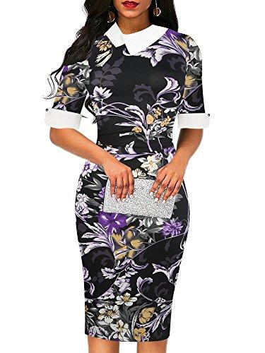(oxiuly Women's Retro Bodycon Knee-Length Formal Office Dresses Pencil Dress OX276 (S, Black Purple))