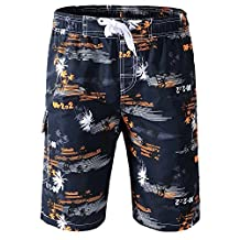 Topda123 Men's Boardshorts Printed Swim Trunks Quick Dry with Water Hole Pocket