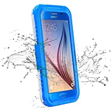 Galaxy S6 Waterproof Case, iThrough Waterproof, Dust Snow Shock Proof Case with Touched Transparent Screen Protector, Heavy Duty Protective Carrying Cover Case for Galaxy S6 (Blue-)